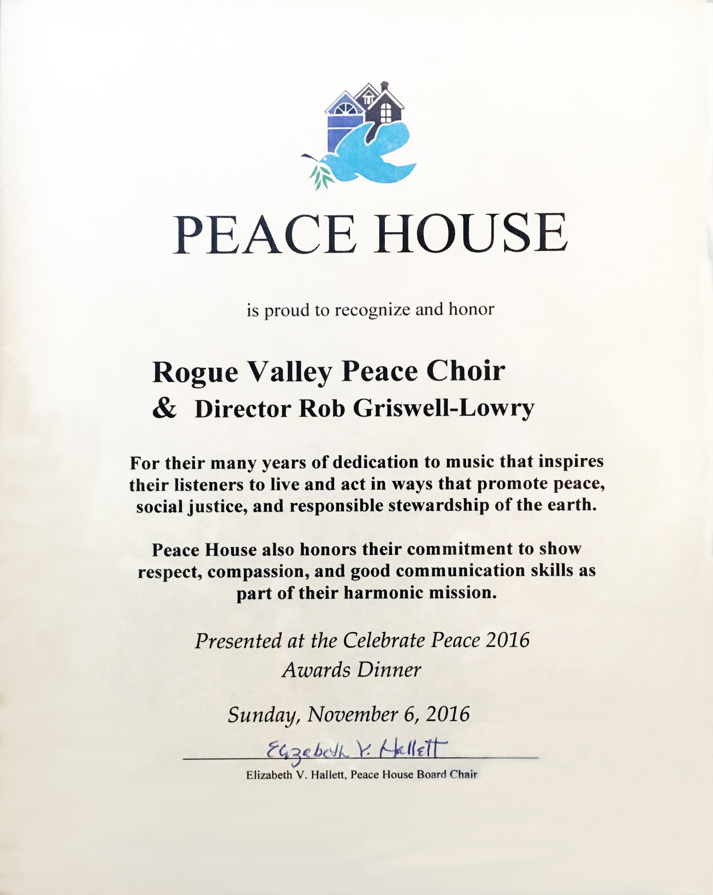 Peace House Awards 2016