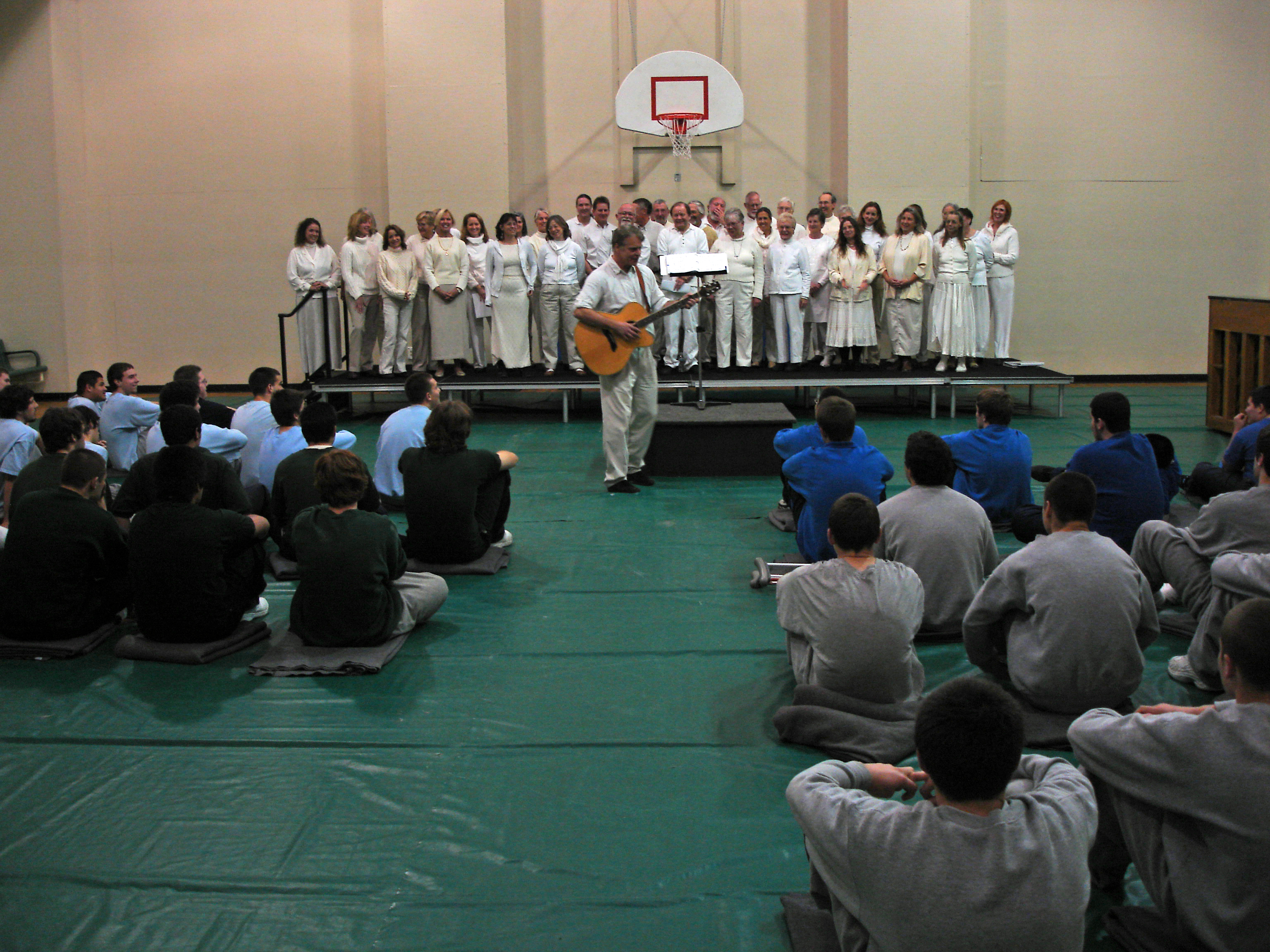 Choir singing at youth correctional facility